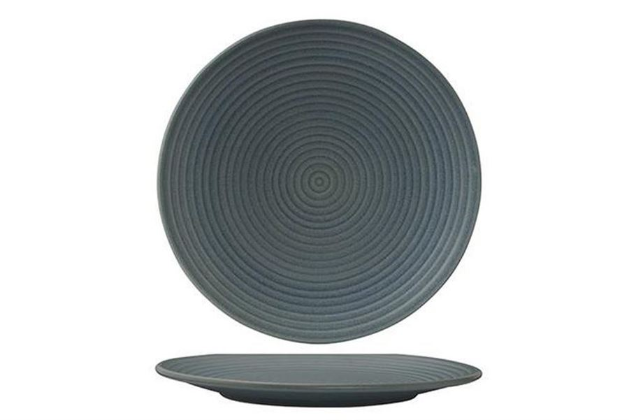 Plate Round Ribbed 210mm Blue