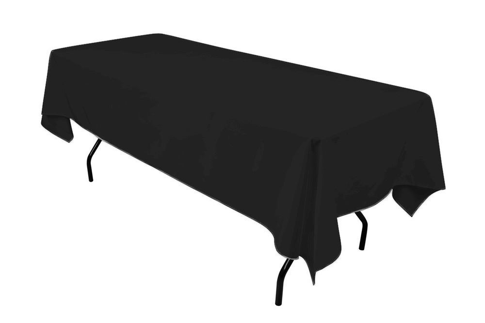 Hire: black tablecloth hire 295cm x 180cm rectangle