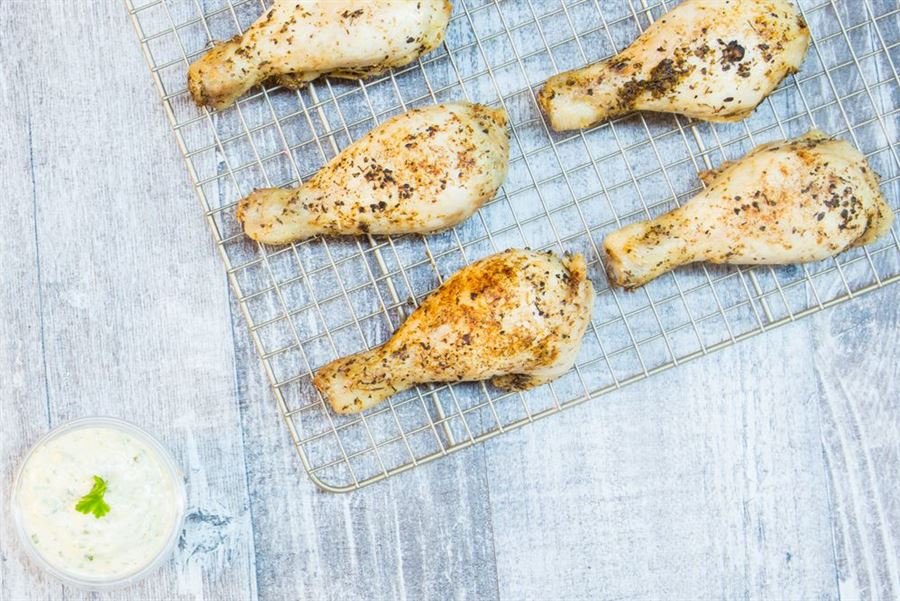 Roasted buttermilk chicken drumsticks roasted with lemon & oregano (gf)