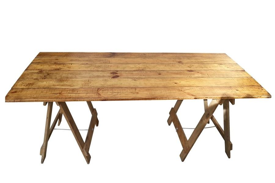 2.2m x 0.80m Wooden Rustic Trestle Table